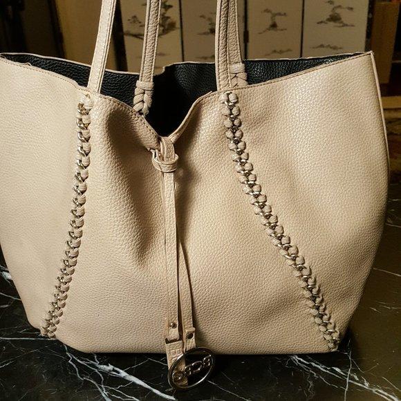 BCBGMaxAzria Handbags - BCBGMAXZRIA Tan Leather Silver chain Large Tote